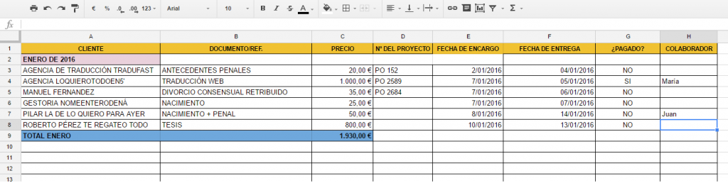 contabilidad excell